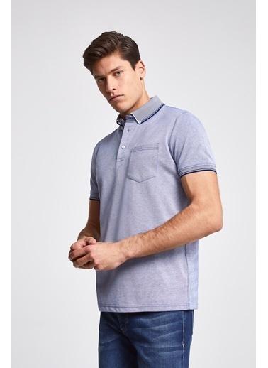 D'S Damat Regular Fit Pike Dokulu T-Shirt Mavi